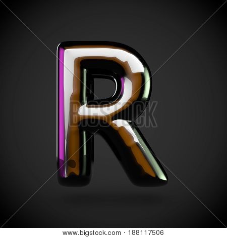 Glossy Black Letter R Uppercase With Colored Reflections