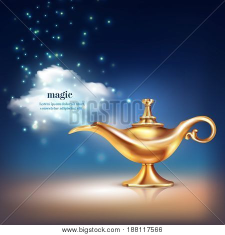 Aladdin lamp cloud conceptual composition of realistic golden vessel and magic particulate materials with editable text vector illustration