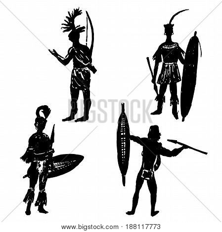 Collection of silhouettes of African tribal warriors in the battle suit and arms drawing sketch hand drawn vector illustration
