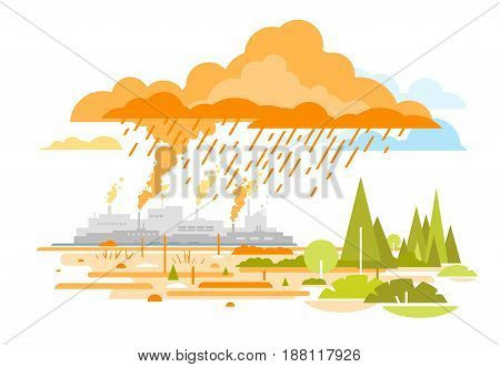 Air pollution from industrial and power plants which leads to acid rain, environmental pollution, destruction of nature, smog and fog in sky, ecology concept, on white background