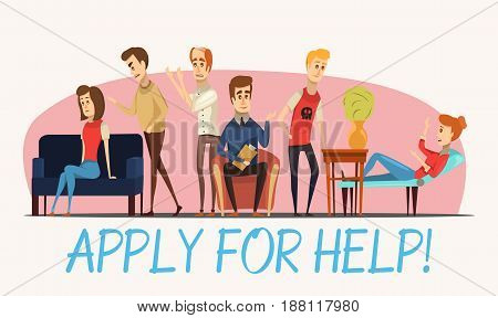 Apply for help to psychologist poster with specialist and patients with various problems flat vector illustration