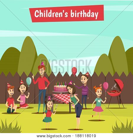 Childrens bithday party with barbecue and celebration symbols cartoon vector illustration