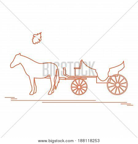 Vector Illustration With Horse-drawn Carriage And Oak Leaf. Travel And Leisure.