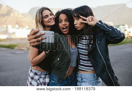 Happy Friends Making Selfie With Smart Phone