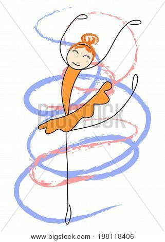 Ballerina in an orange dress is dancing. Simple vector illustration