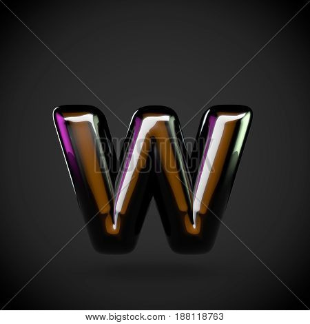 Glossy Black Letter W Lowercase With Colored Reflections