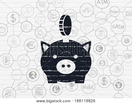 Money concept: Painted black Money Box With Coin icon on White Brick wall background with Scheme Of Hand Drawn Finance Icons