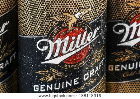 Moscow, RUSSIA - April 6, 2017: Miller beer global brand. Miller Lager Beer is the flagship product of United States of America