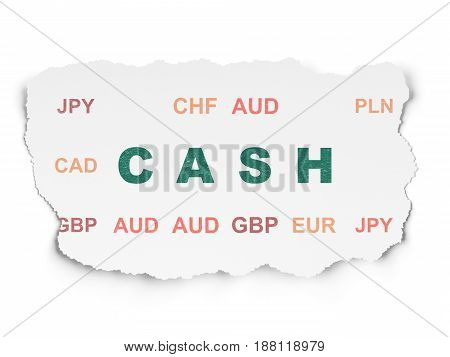 Money concept: Painted green text Cash on Torn Paper background with  Currency
