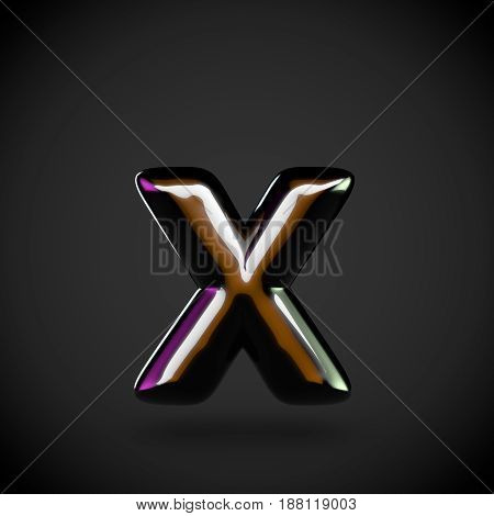 Glossy Black Letter X Lowercase With Colored Reflections