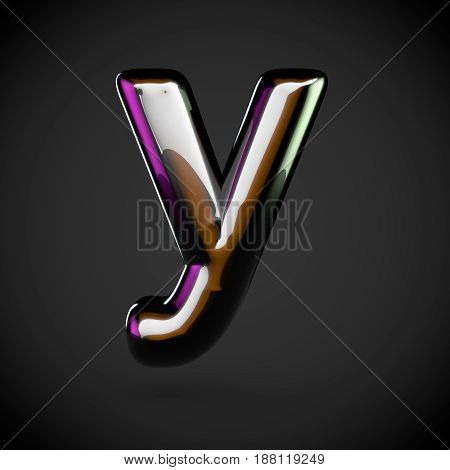 Glossy Black Letter Y Lowercase With Colored Reflections