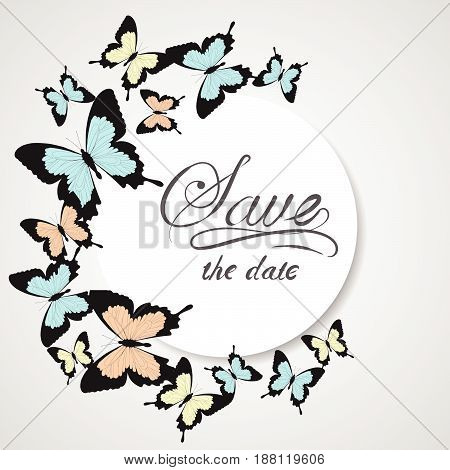 Cute round frame made of butterfllies with pllace for your text. Colorful doodle card on a special occasion. Can be used for Valentine's Day, wedding design, scrapbook, invitations, postcard