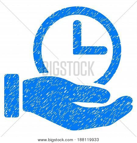 Grunge Time Service icon with grunge design and dirty texture. Unclean vector blue pictogram for rubber seal stamp imitations and watermarks. Draft sign symbol.