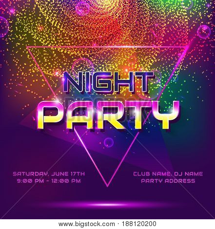 Colorful flyer for night party. Invitation with shiny background. Vector illustration.