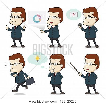 Businessman character in 6 different action, the vector is 100% editable.