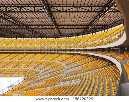 Beautiful Sports Arena For Ice Hockey With Yellow Seats  Vip Boxes And Floodlights For Fifty Thousan