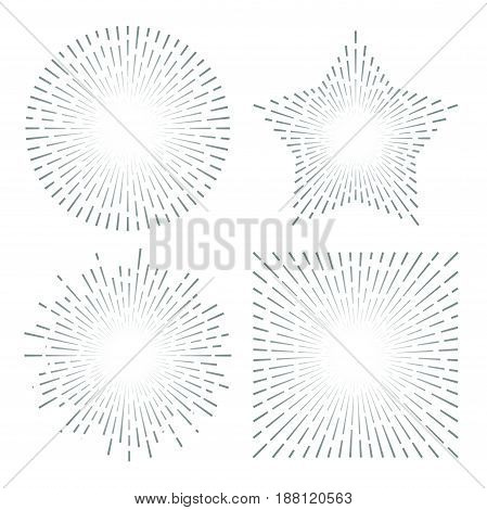 Vintage sunburst starburst abstract retro sunshine line splash. Vector illustration set
