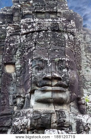 Ancient stone relief at the Prasat Bayon temple (late 12th - early 13th century) in Angkor Thom, Cambodia