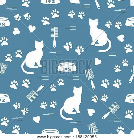 Nice Pattern Of Silhouette Sitting Cat, Traces, Hearts, Bowl And Comb Need For Cat Hair.