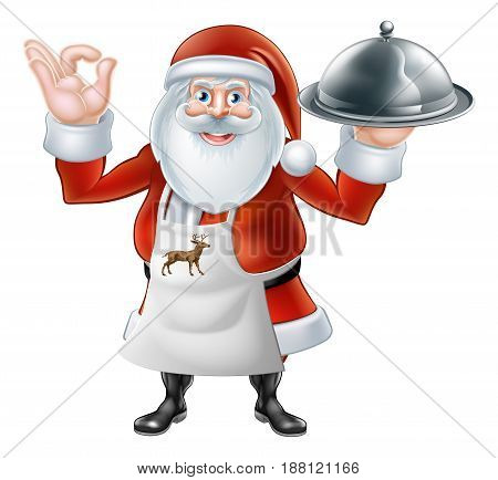 An illustration if a Cartoon Santa Claus chef or cook character wearing an apron holding a plate or platter of food