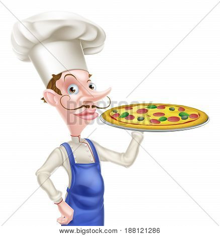 An illustration of a cartoon Pizza Chef character