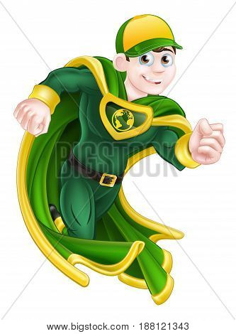 Cartoon super hero character in green and yellow running in a cape and costume and with an earth globe symbol on his chest