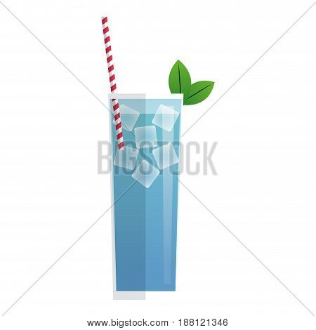 blue cocktail glass with mint ice straw and drinking. vector illustration