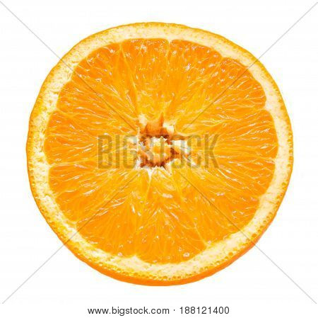 Orange fruit. Round slice isolated on white table. View from above.