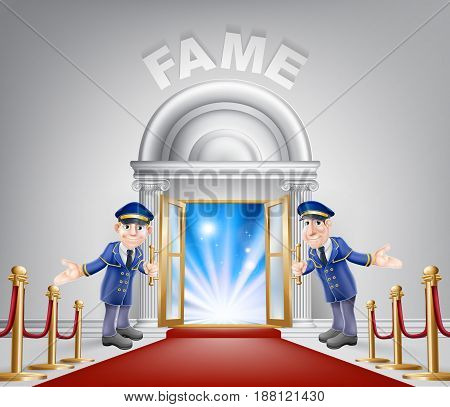 Fame door concept of a doormen holding open a door at a red carpet entrance with velvet ropes.