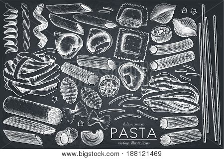Vector collection of traditional Italian pasta. Hand drawn food sketch set. Vintage illustration for cafe or restaurant design on chalkboard