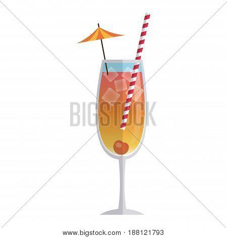 drink cocktail cherry ice umbrella straw vector illustration