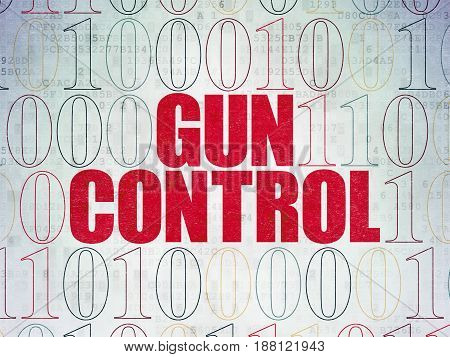 Security concept: Painted red text Gun Control on Digital Data Paper background with Binary Code