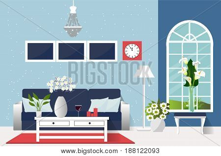 The interior of the living room. Cozy room in a retro style. Vector illustration. Cartoon. Flat design.