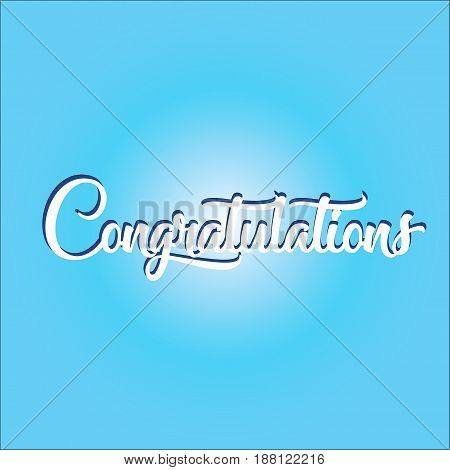 Congratulations lettering text. Vector for cards and design
