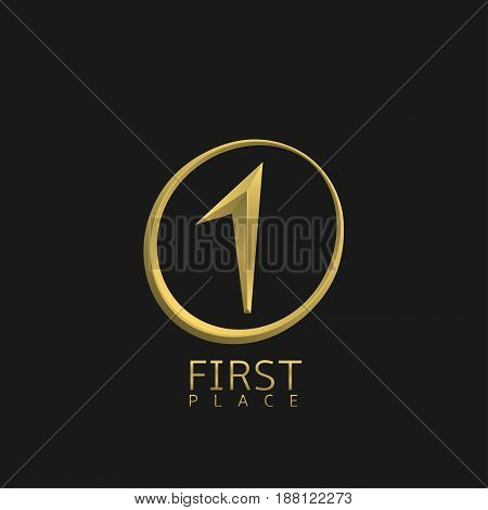 First place symbol. Number one icon, golden best of the best label