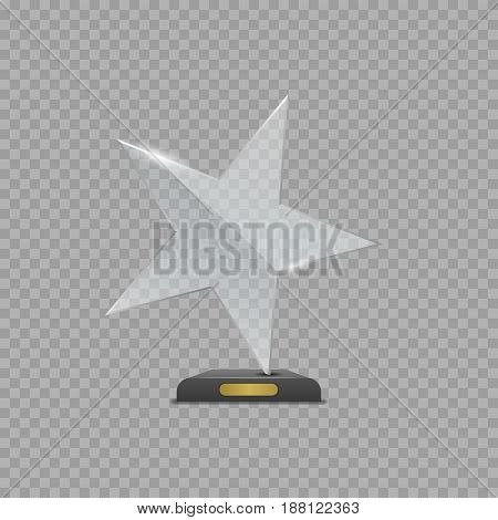 Realistic Glass Star Award over transparent background for presentation or Awards ceremony. Best of the best symbol, winner sign