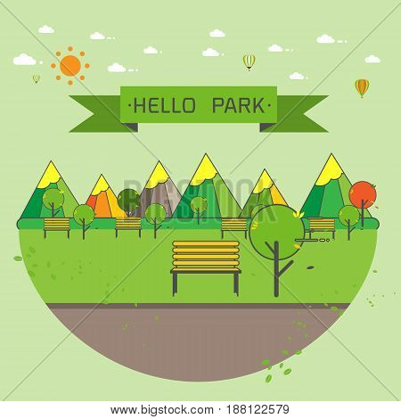 Hello Park. Natural landscape flat modern linear style. a beautiful park.Environmentally friendly natural landscape.Vector illustration