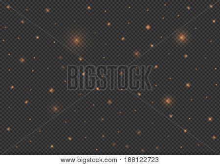 Shining stars over transparent background. Vector illustration