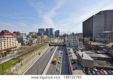 Ville-marie Highway With Lot Of Traffic In Dowtown Montreal