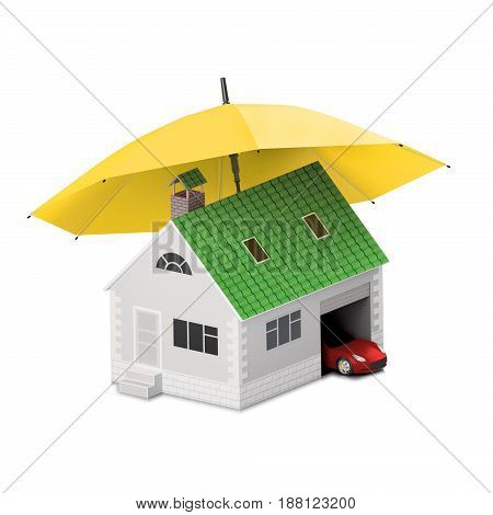 Insurance home house life car protection. Buying house and car for family icon. Protect people Concepts. 3D illustration. Icon for the web site of the bank. Red car under yellow umbrella.