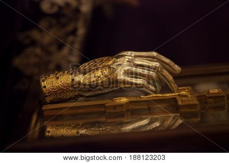 Saint relics of Apostole Paul in the gilded