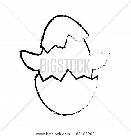 eggshell with cute chicken icon over white background. vector illustration