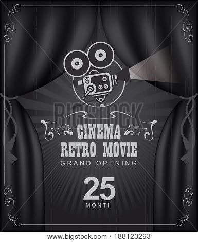 Vector cinema festival poster with black Curtains and projector lights. Movie background with words cinema retro movie grand opening. Can used for banner poster web page background