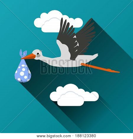 Flying stork with a bundle icon On a cloud background