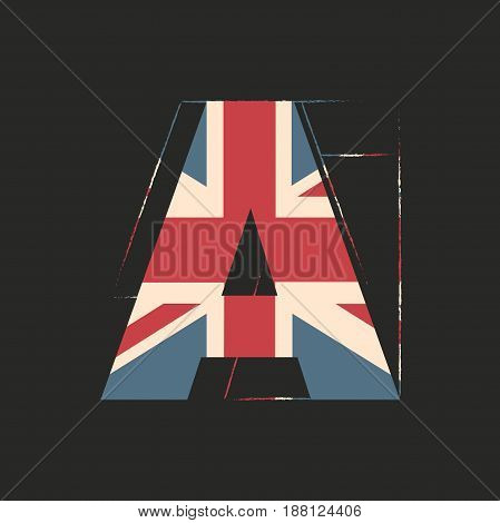 Capital 3d letter A with UK flag texture isolated on black background. Vector illustration. Element for design. Kids alphabet. Great Britain patriotic font.