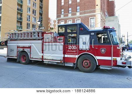 MONTREAL QUEBEC CANADA - 18 MAY 2017: Fire engine in Montreal Canada. Service de securite incendie de Montreal the SIM is the 7th largest fire department in North America.