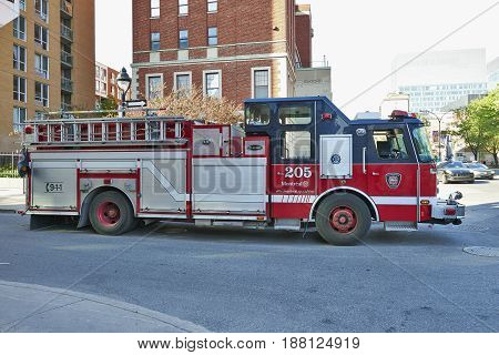 Fire Engine In Montreal Canada