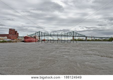 View Of St. Lawrence River And Jacques Cartier Bridge