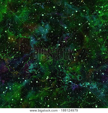 Abstract bright green universe, Glittering nebula summer night starry sky, Shiny outer space, Galactic texture background, Cosmic seamless illustration