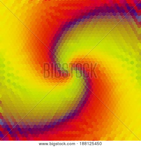 Abstract hexagonal background with spirals converging to one point. Yellow, red, green and blue rotating background